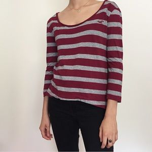 Hollister striped silver and maroon top